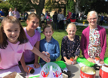 Kids outside at fall kick off event